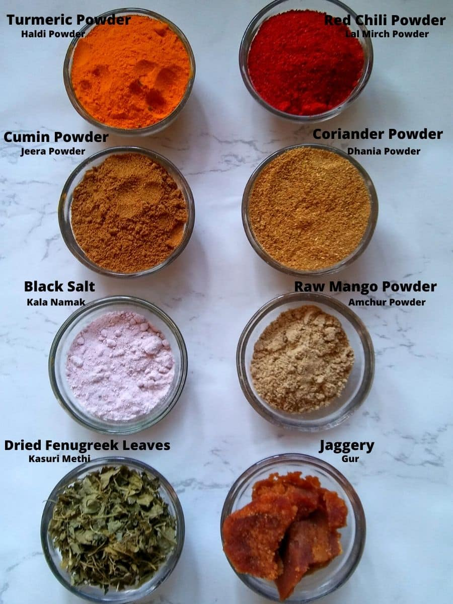 Some Powdered Spices, Dried Fenugreek leaves, and Jaggery
