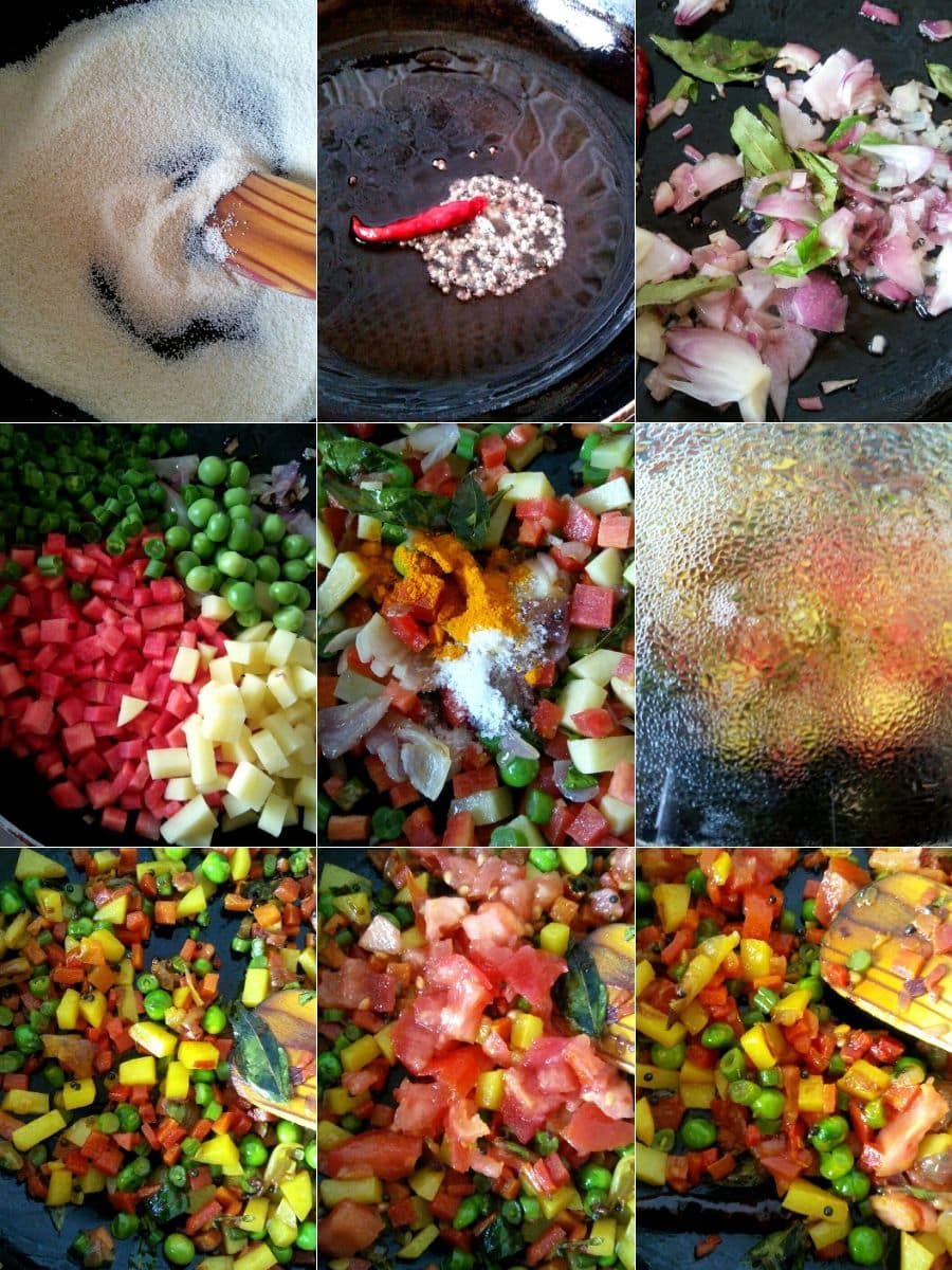 Sauteining the spices and vegetables for rava upma
