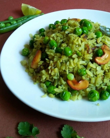 Quick Green Peas Poha Recipe