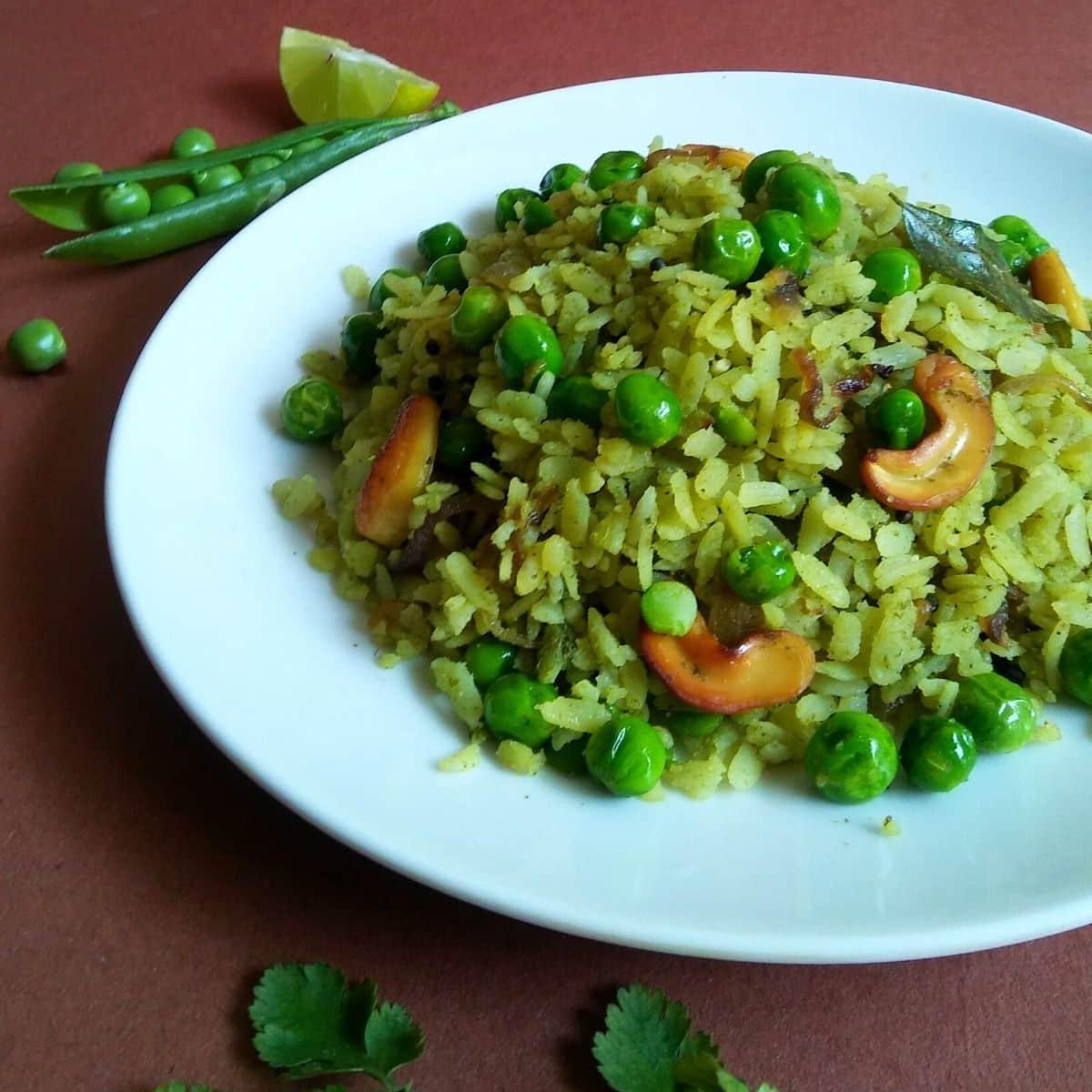 Quick Green Peas Poha Recipe