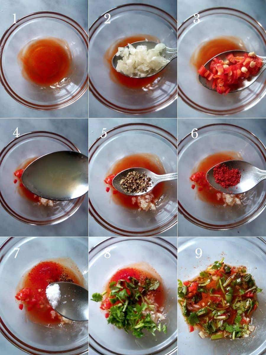 Prawn Mango Summer Salad Dressing Steps