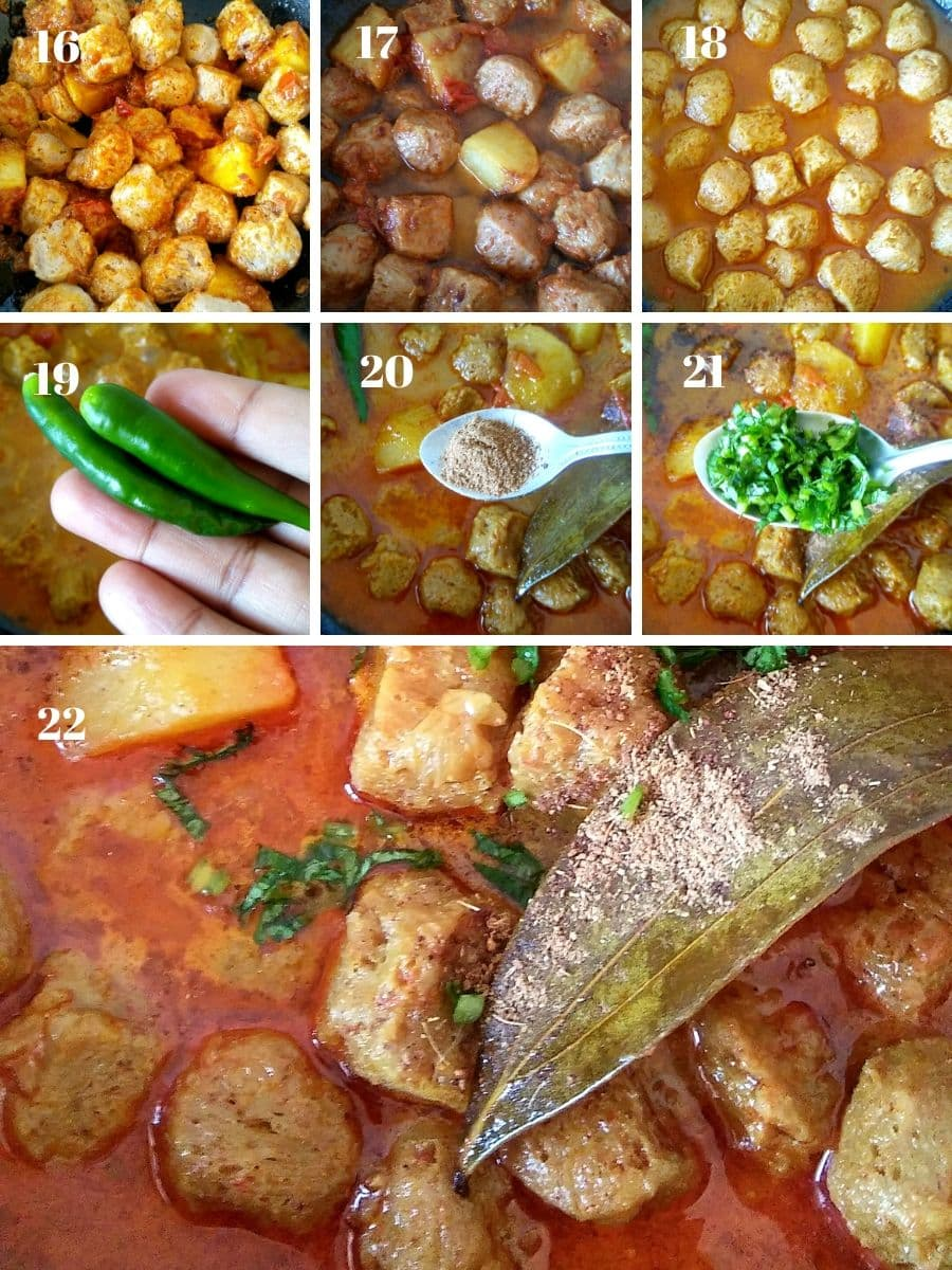 Soya Nuggets Curry Recipe Steps