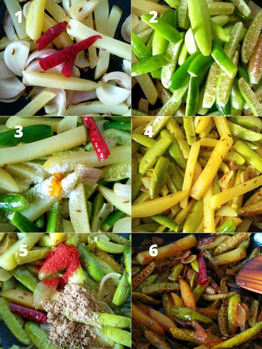 Ivy Gourd Potato Fry Recipe Steps
