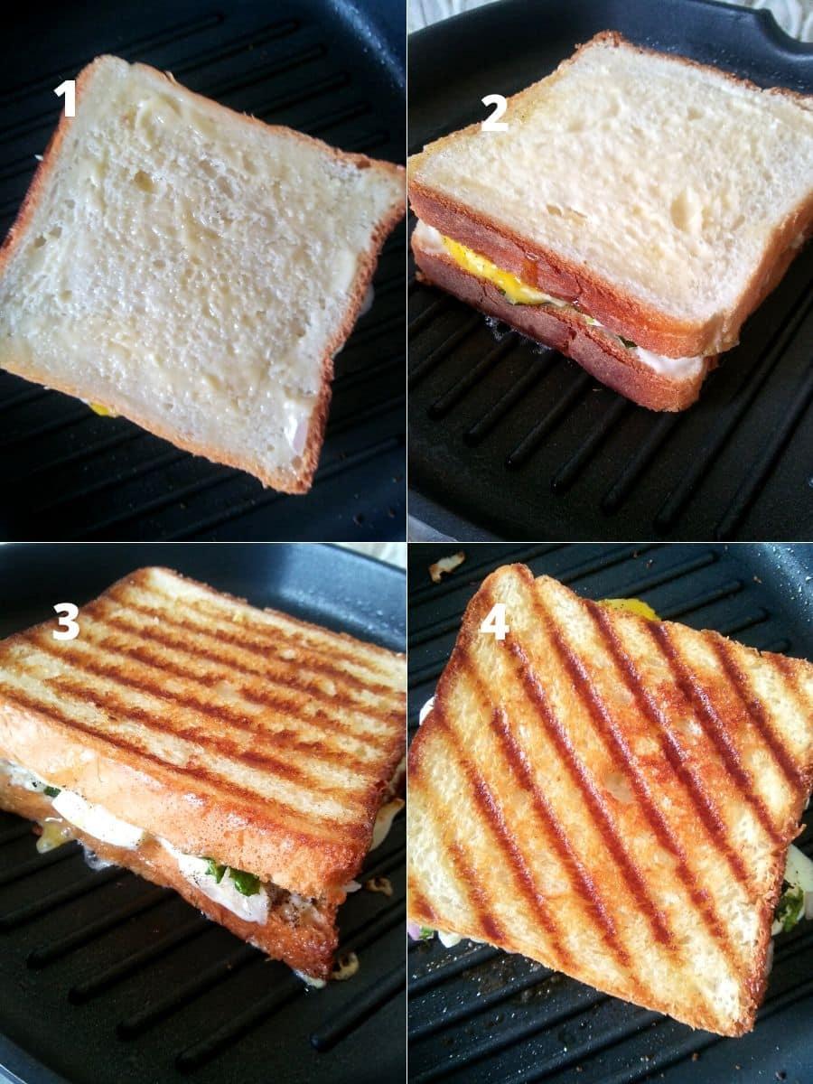 Boiled Egg Sandwich Making Steps