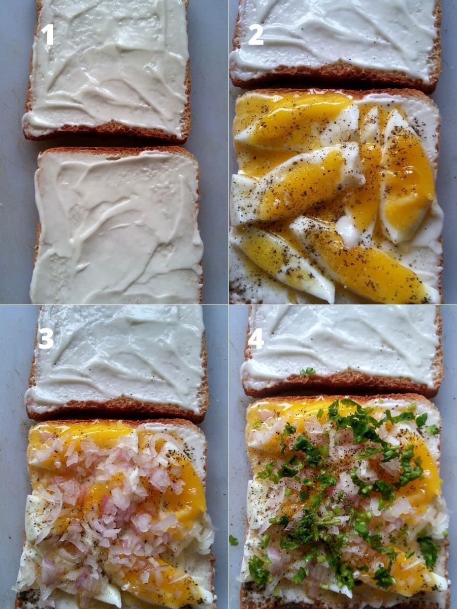 Making of boiled egg sandwich