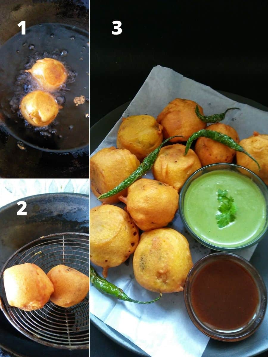 Frying Aloo Bondas