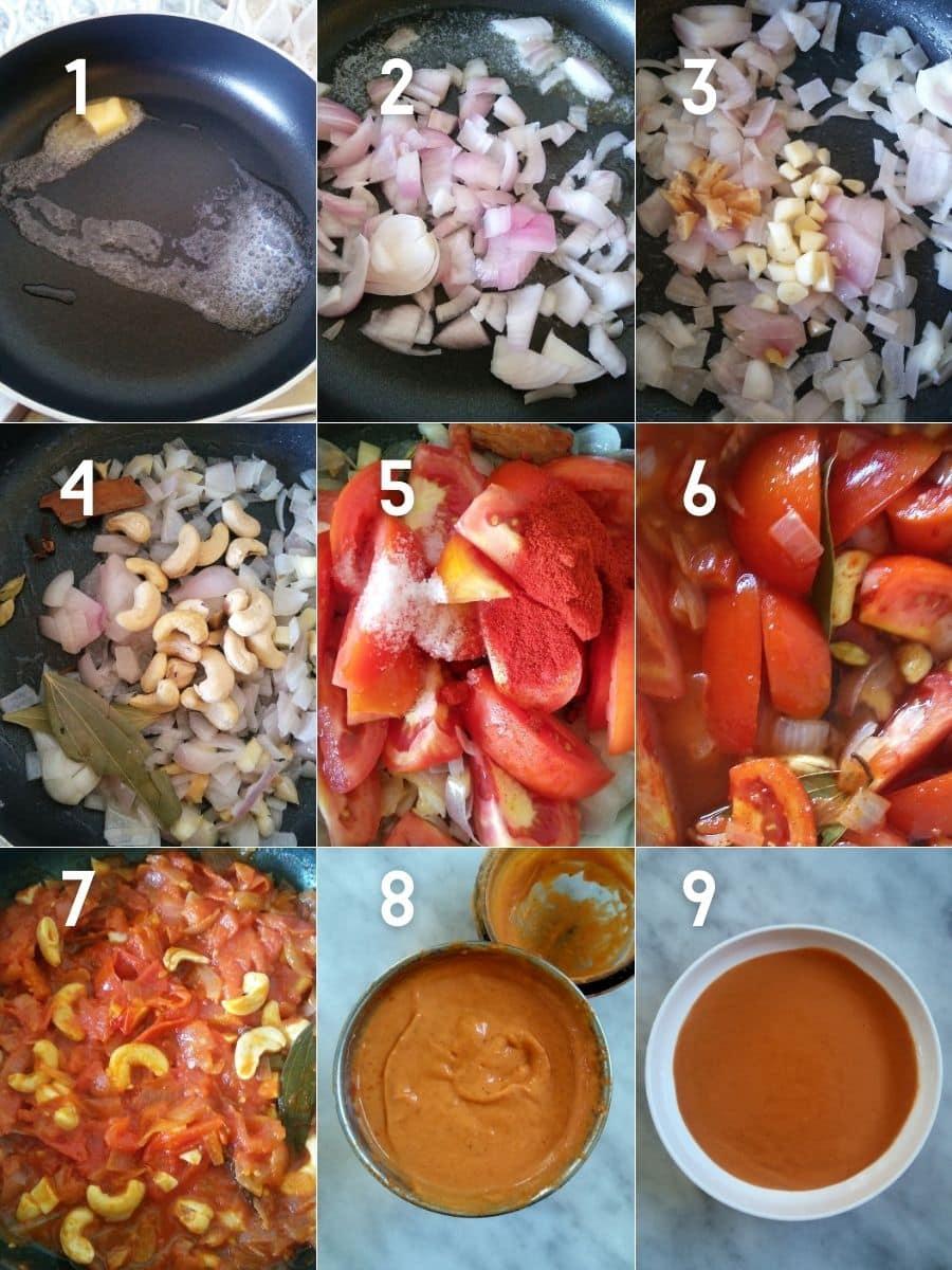 Preparing butter sauce for  Indian Butter Chicken Meatballs