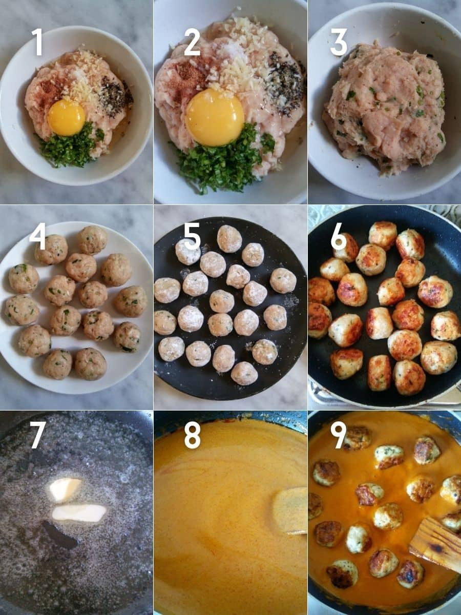 Making of Butter Chicken Meatballs in stepwise