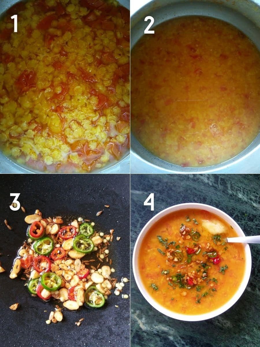 Tempering the arhar dal with stepwise photos