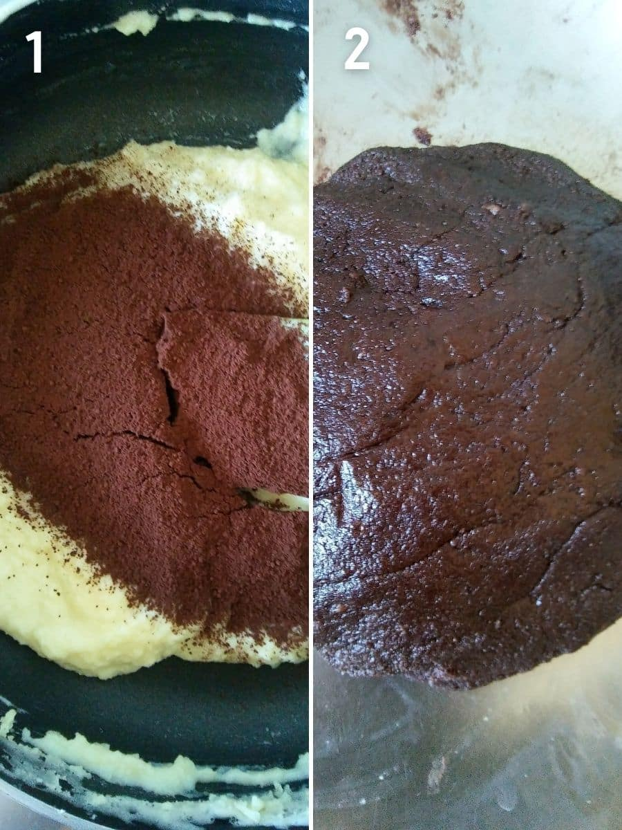 Mixing cocoa powder to the khoya mixture