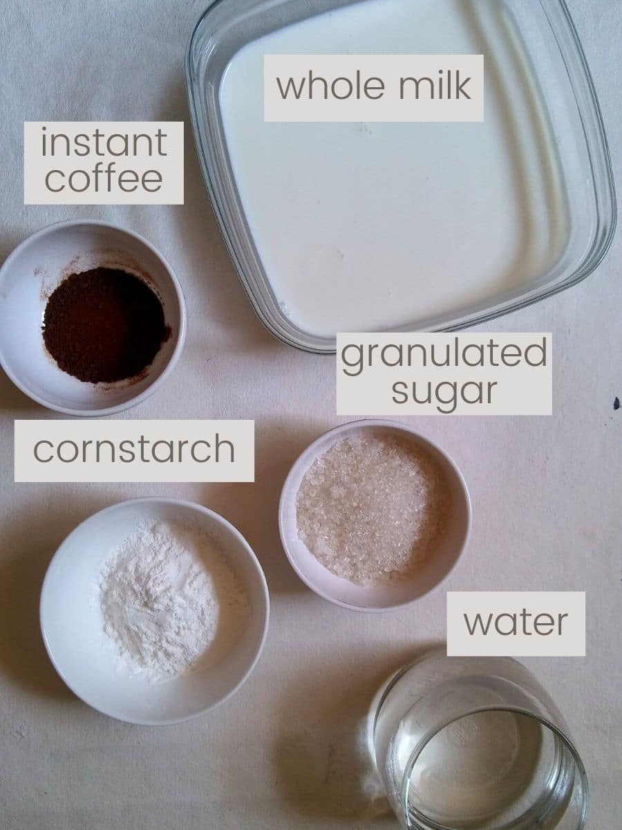 Ingredients required to make coffee pudding