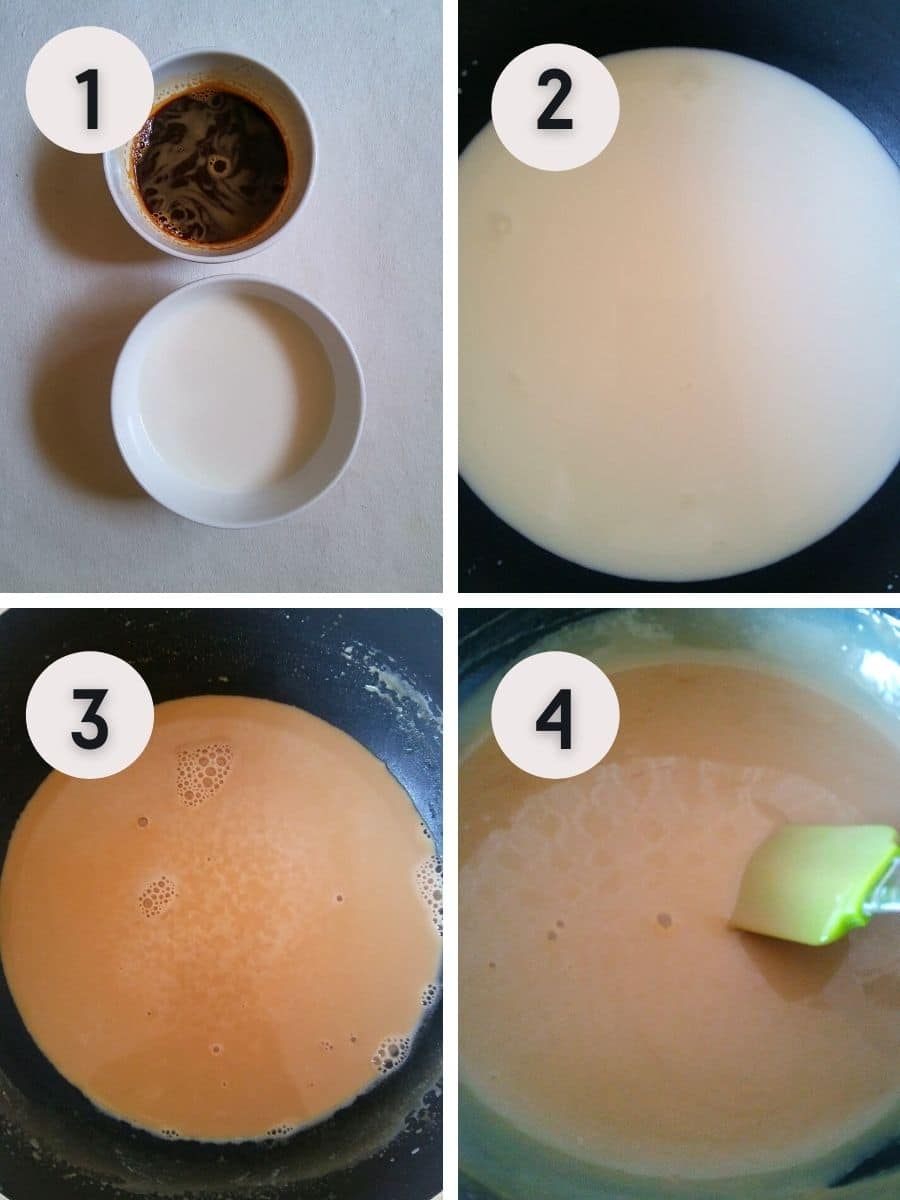 Coffee pudding recipe making stepwise