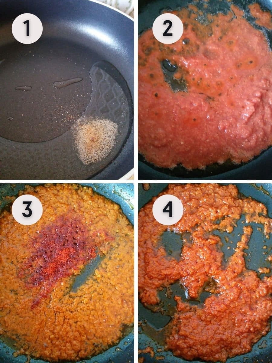 sauteing the spice paste until oil separates