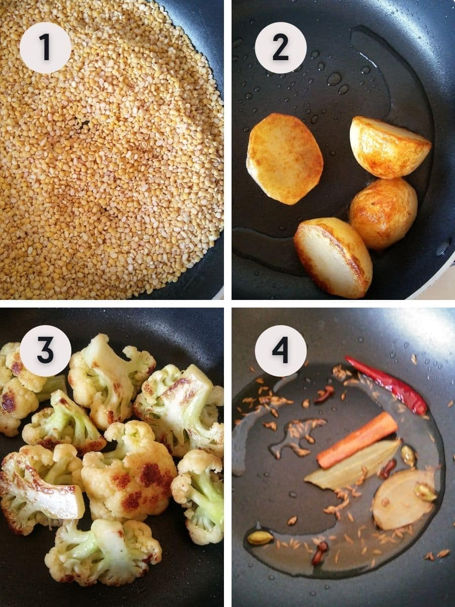 Saute veggies and tempering spices steps