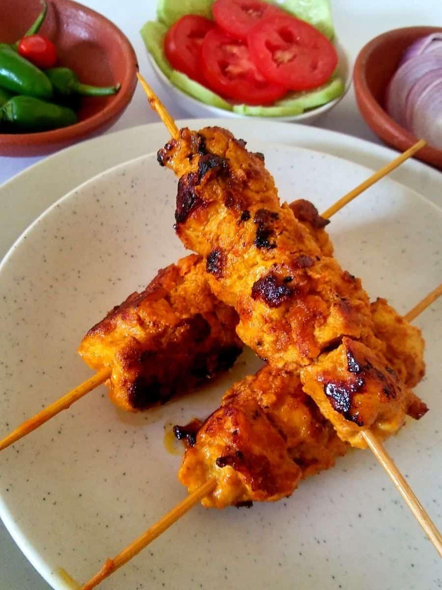 Chicken boti Kabab on skewer sticks