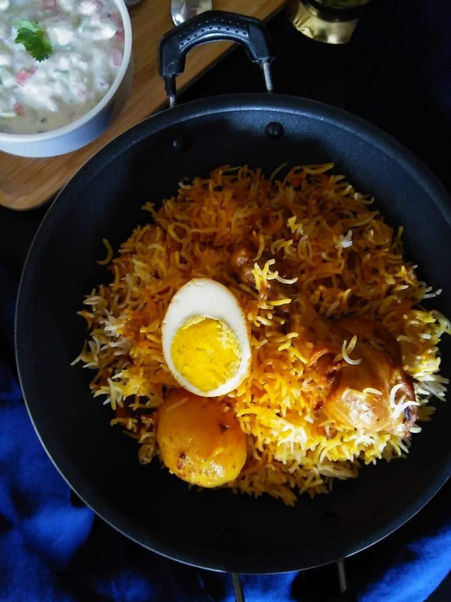 Calcutta chicken Biryani served with raita