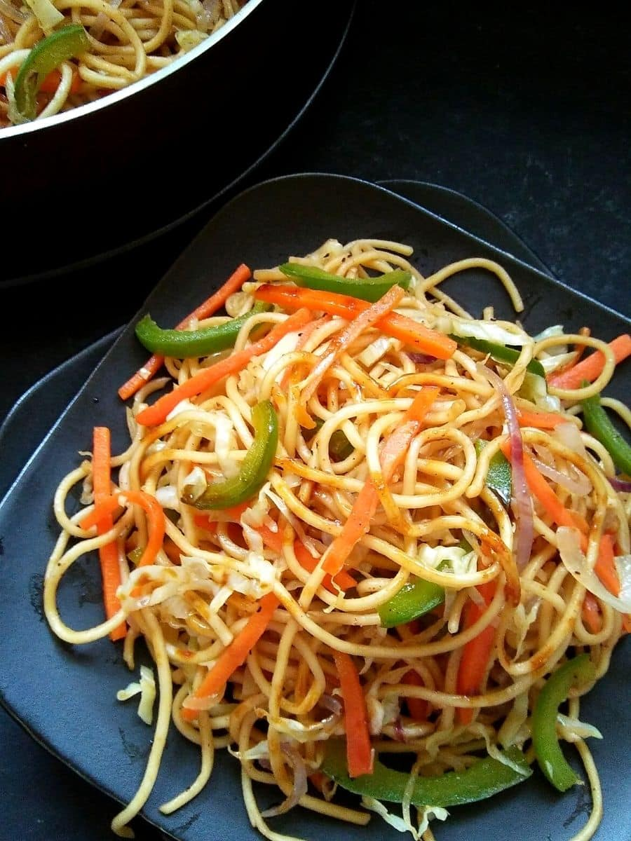 Mixed Vegetable Chow Mein on plate