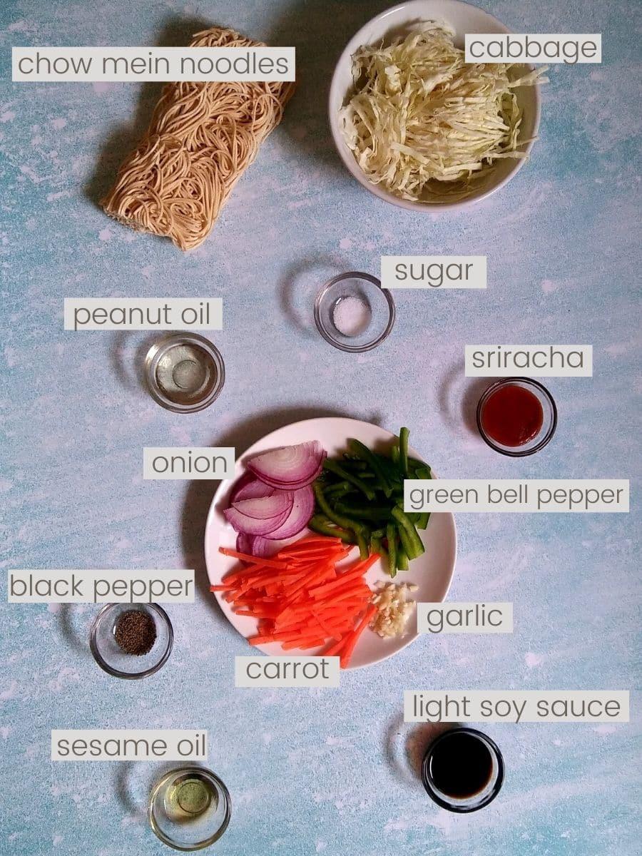 Vegetarian Chow Mein Ingredients