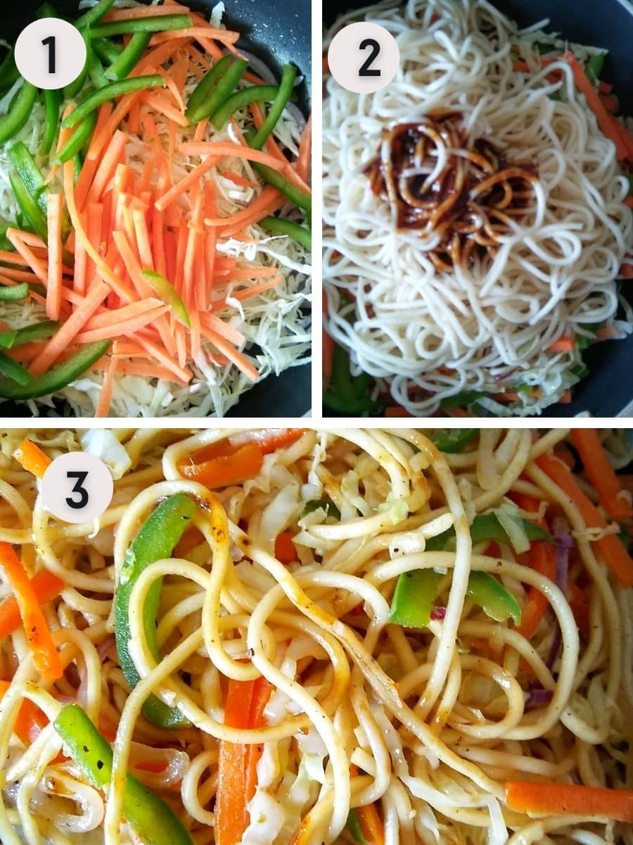 stir frying the vegetables and noodles for chow mein