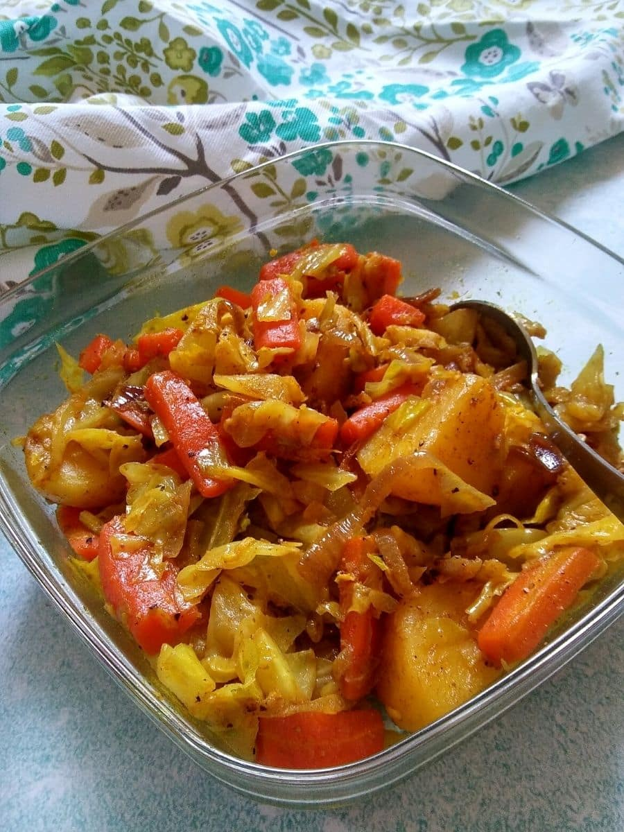 Ethiopian spiced Cabbage, carrot, and potatoes