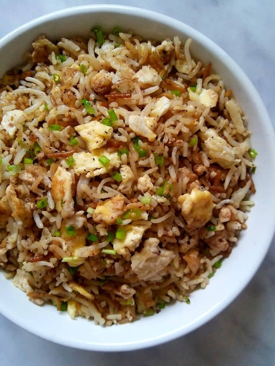 Hibachi fried rice in a bowl