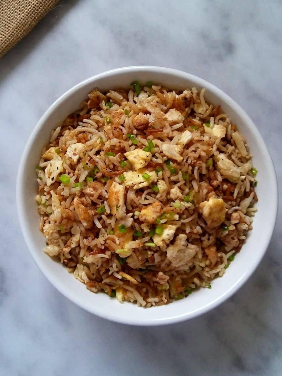 Hibachi rice in a bowl