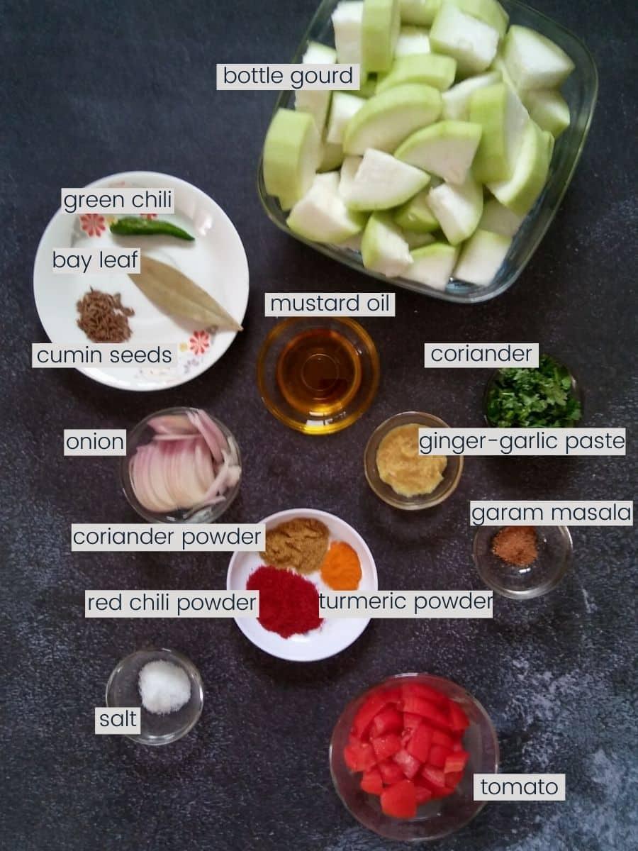 Lauki Sabzi Ingredients