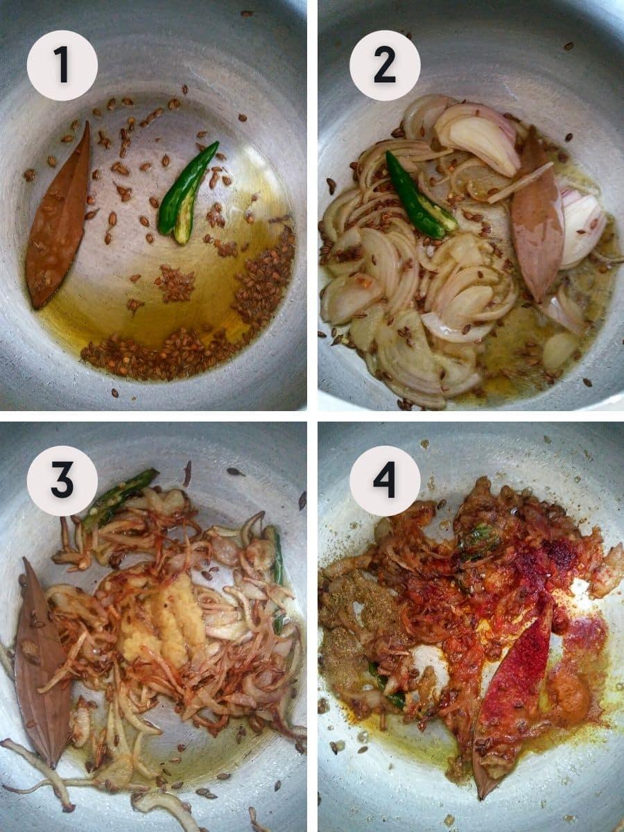 Sautéing the spices for lauki sabzi