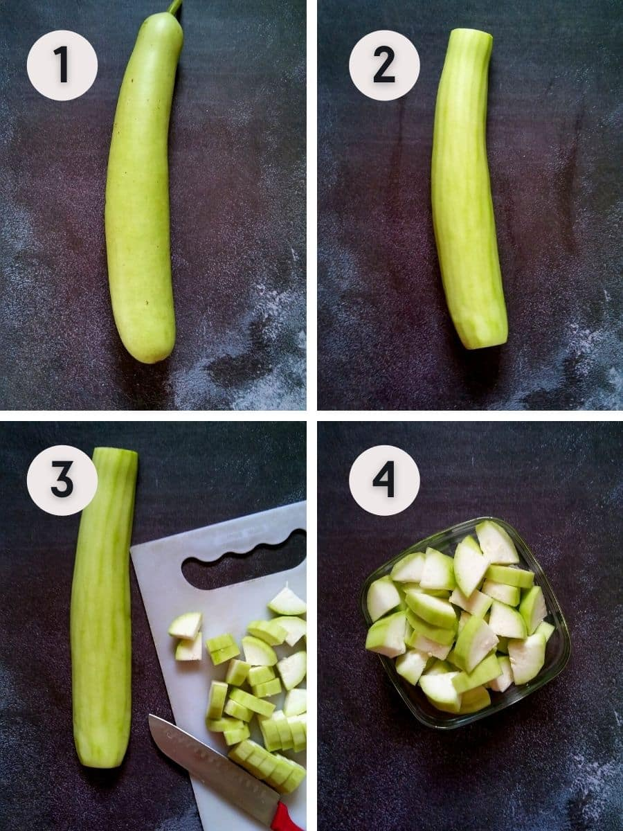 Bottle gourd cutting and peeling step by step