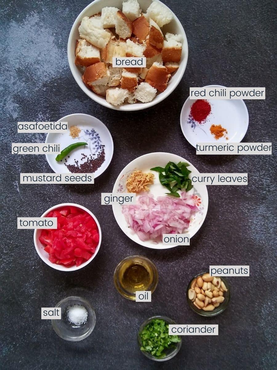 Bread upma ingredients