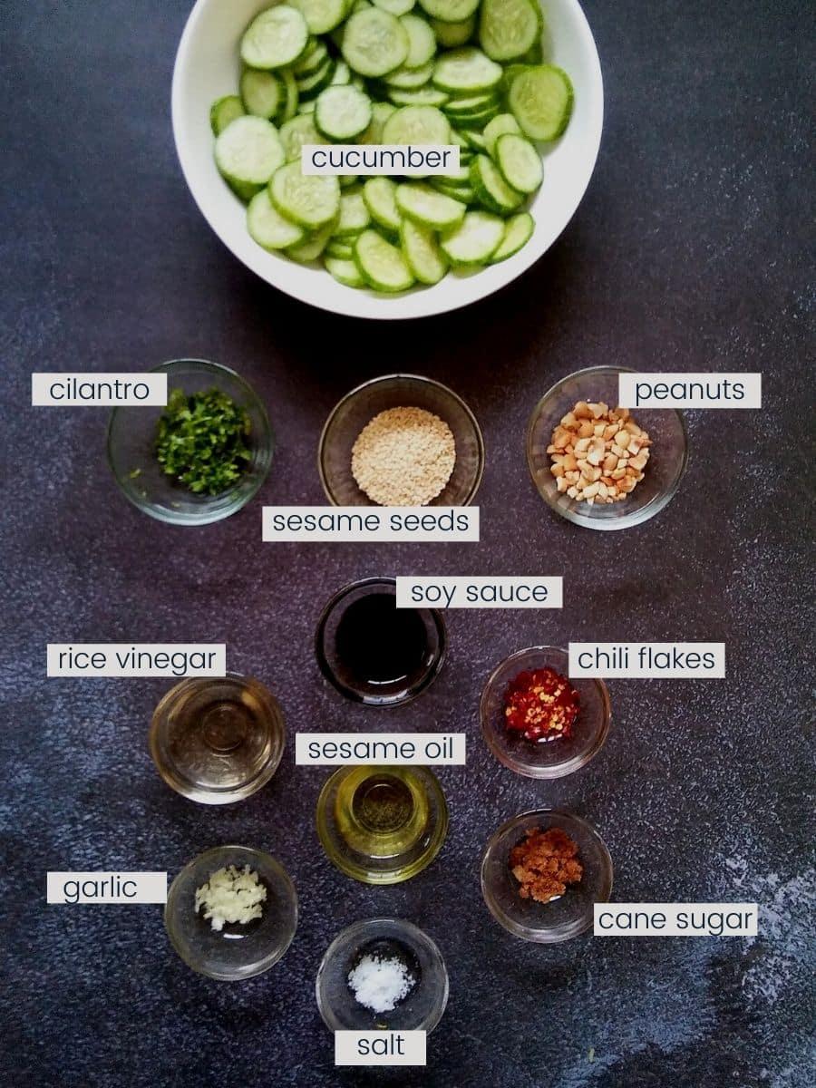 Ingredients to make Asian cucumber salad