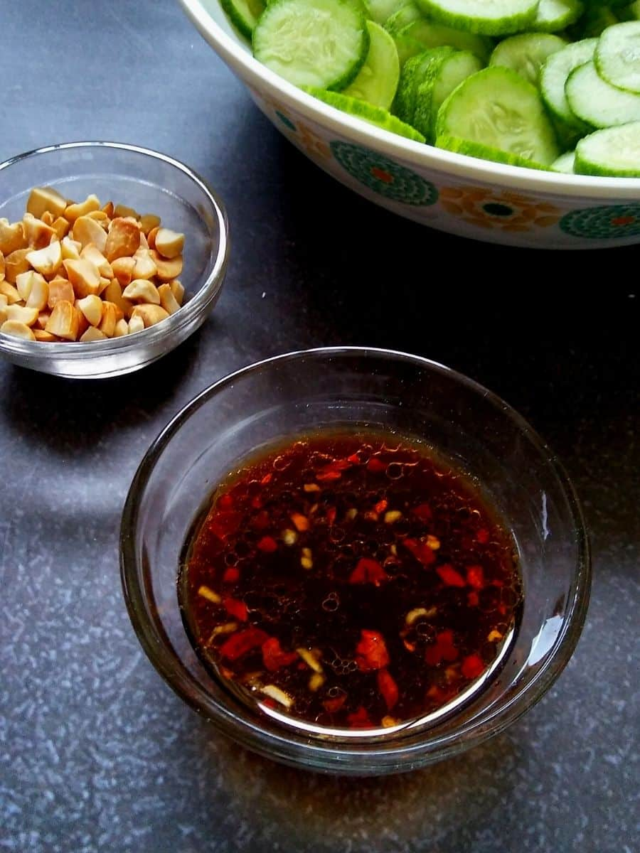 Making the sesame dressing for Asian cucumber salad