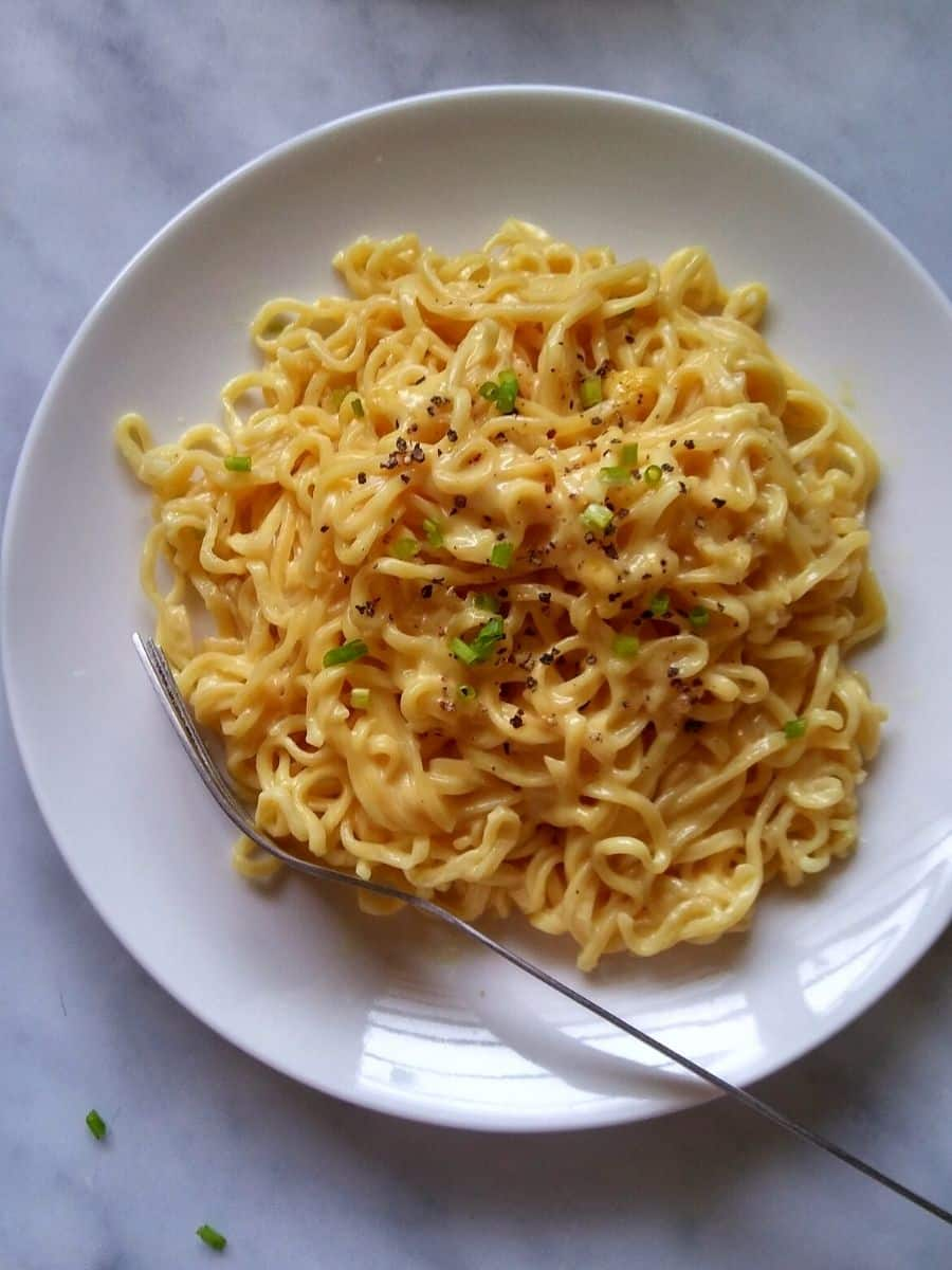Cheese Instant Ramen on a white plate