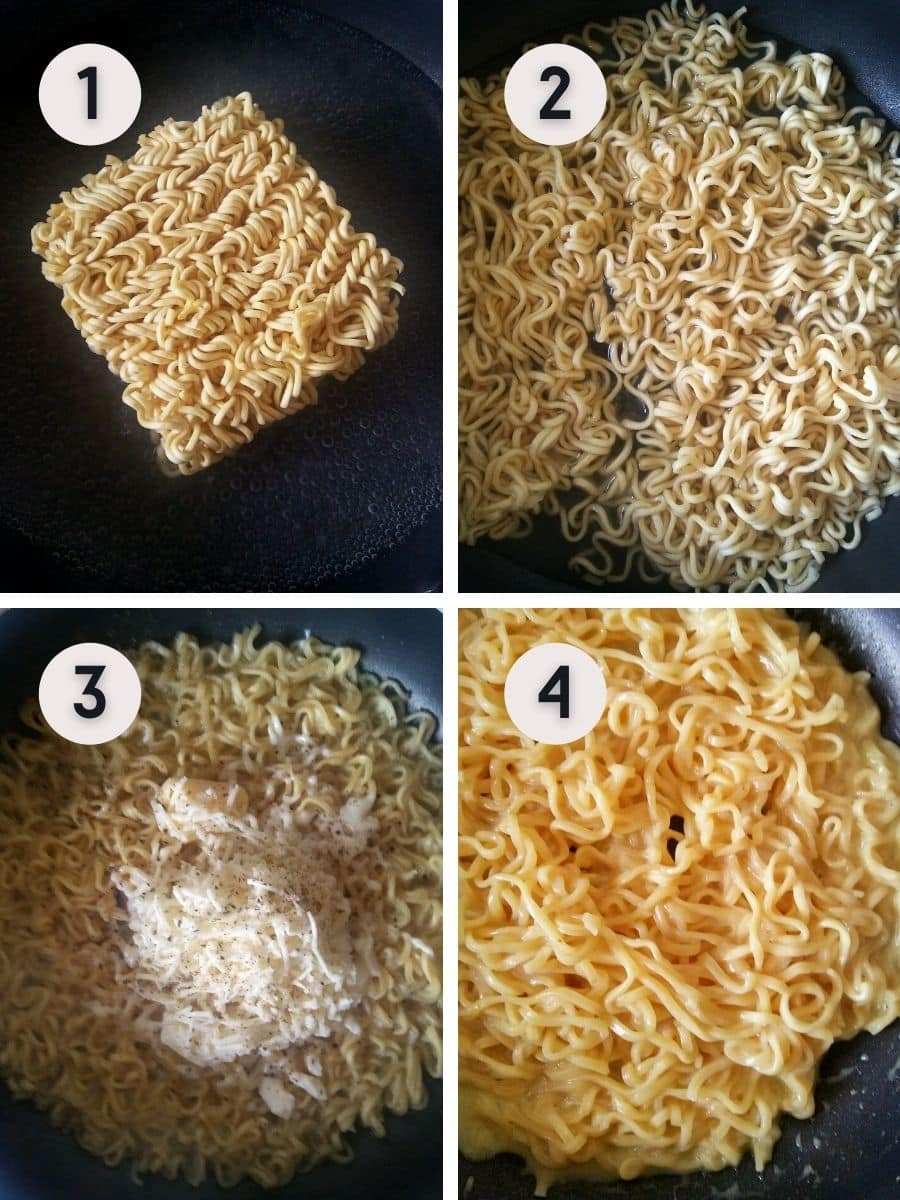 Instant ramen with cheese making step by step