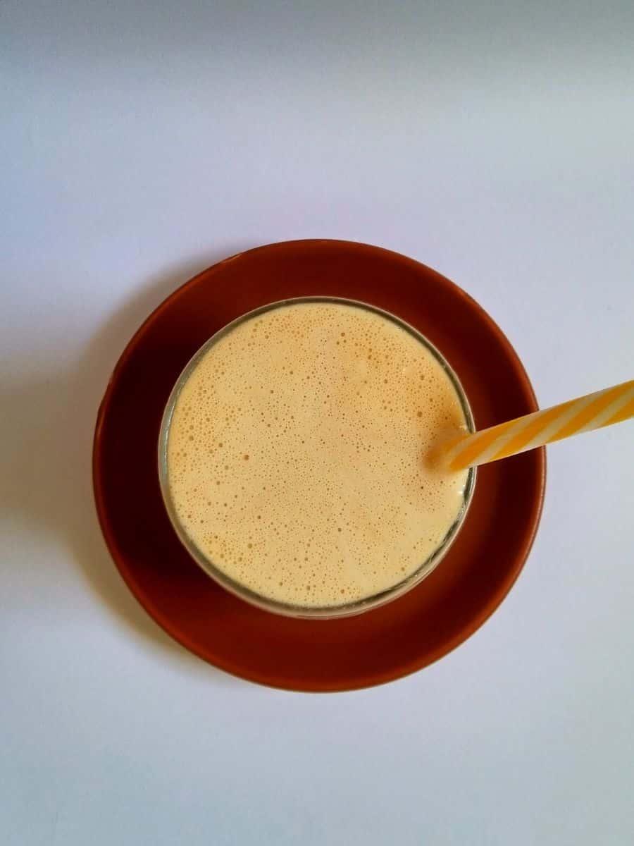 Peanut butter milkshake in a glass