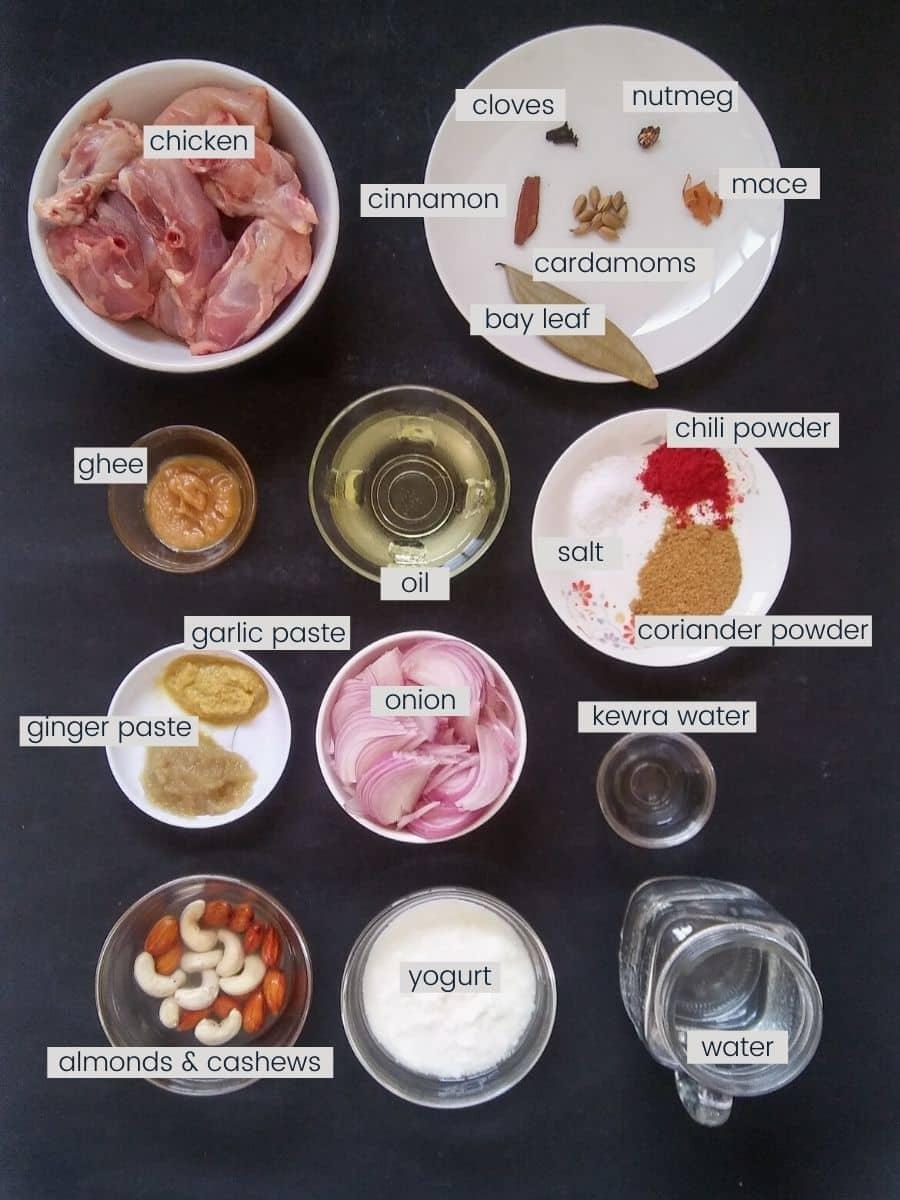 Chicken korma ingredients