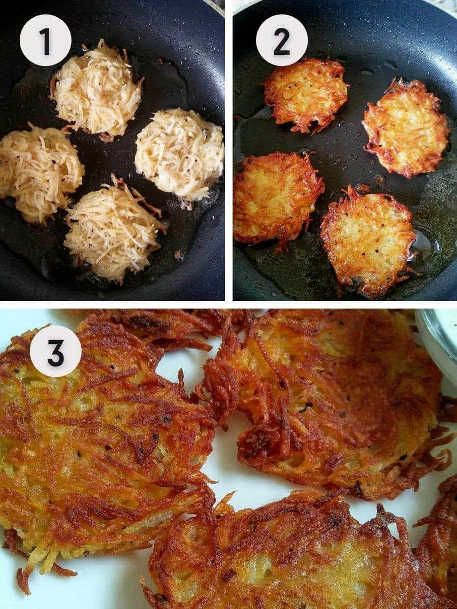 Shallow frying potato fritters on a pan
